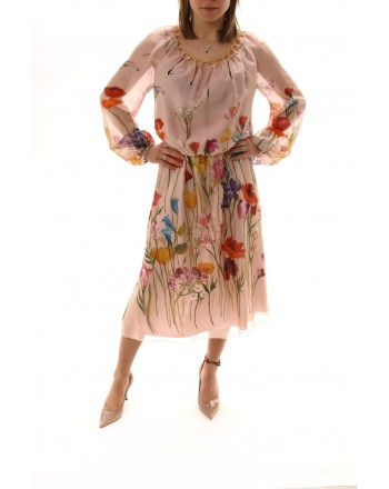 BLUMARINE - Silk Dress with Flower Print - Multicolor