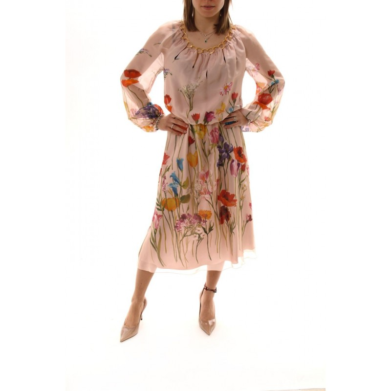 BLUMARINE - Abito in Seta a Stampa Floreale - Multicolor