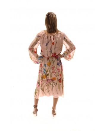 BLUMARINE - Silk Dress with Flower Print - Multicolor