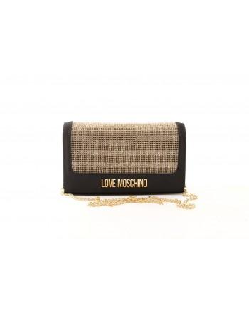 LOVE MOSCHINO - Satin Bag with Metallic Detail - Black