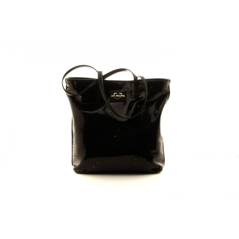 LOVE MOSCHINO - Shopping Bag with Reversible Golden Paillettes - Black