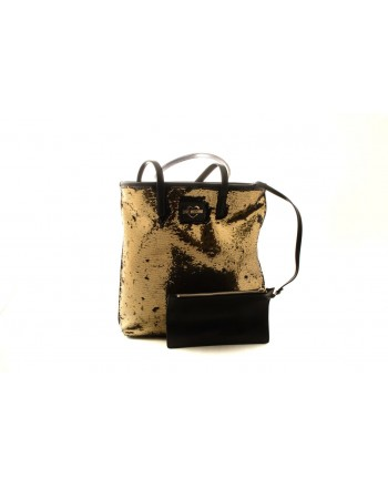 LOVE MOSCHINO - Borsa Shopping con Paillettes Reversibili - Nero