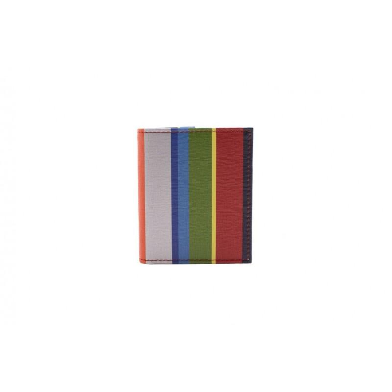 GALLO - Portacarte in Pelle a Stampa Righe - Oltremare/Rosso