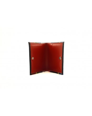 GALLO - Leather Card Holder with Stripes  - Blue/Red