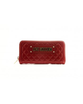 LOVE MOSCHINO - Zip Around Ecoleather Wallet with Logo- Red