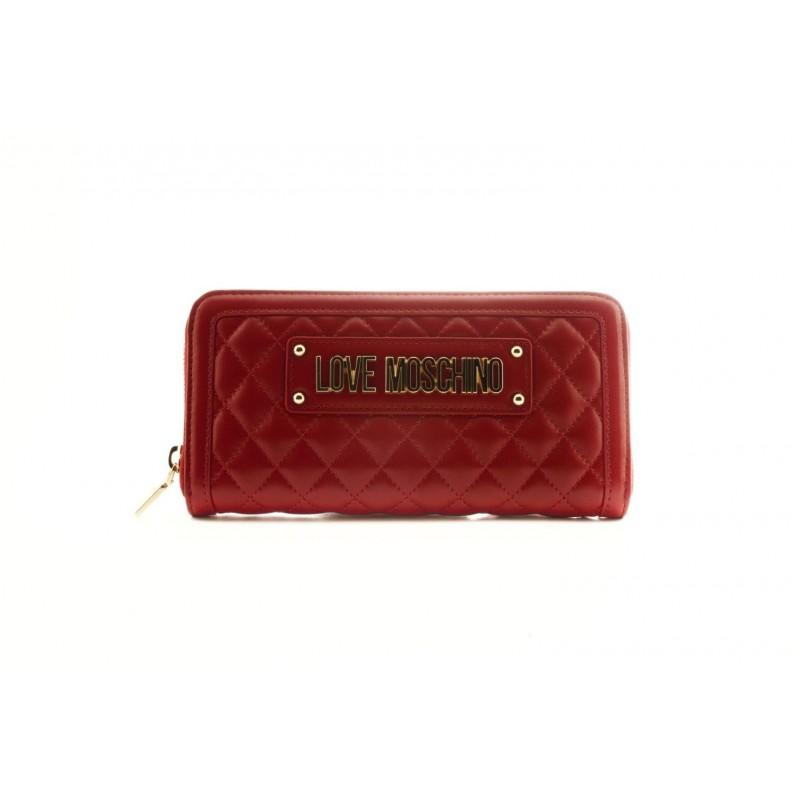 5d83574559 LOVE MOSCHINO - Portafoglio zip-around in eco pelle con Logo- Rosso