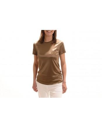 MAX MARA - Satin T-Shirt  ROLL - Bronze/Mastic