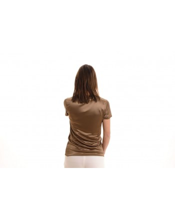 MAX MARA - T-Shirt in Raso ROLL - Bronzo/Mastice