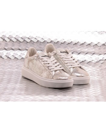 LOTTO LEGGENDA -  IMPRESSIONS CRACK leather sneakers - White/Silver Metal