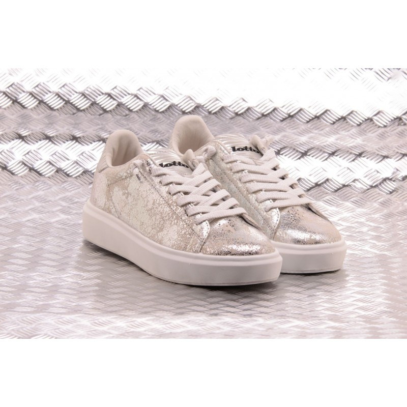 LOTTO LEGGENDA - Sneakers IMPRESSIONS CRACK in pelle - White/Silver Metal