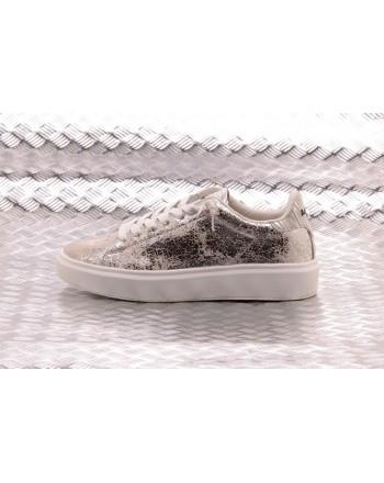 LOTTO LEGGENDA -  IMPRESSIONS CRACK leather sneakers - White/Silver Metal