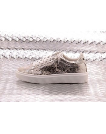 LOTTO LEGGENDA - Sneakers IMPRESSIONS CRACK in pelle - White/Silver Metal