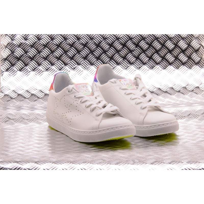 2 STAR - Sneakers Low in Ecopelle  - Bianco/Multicolor