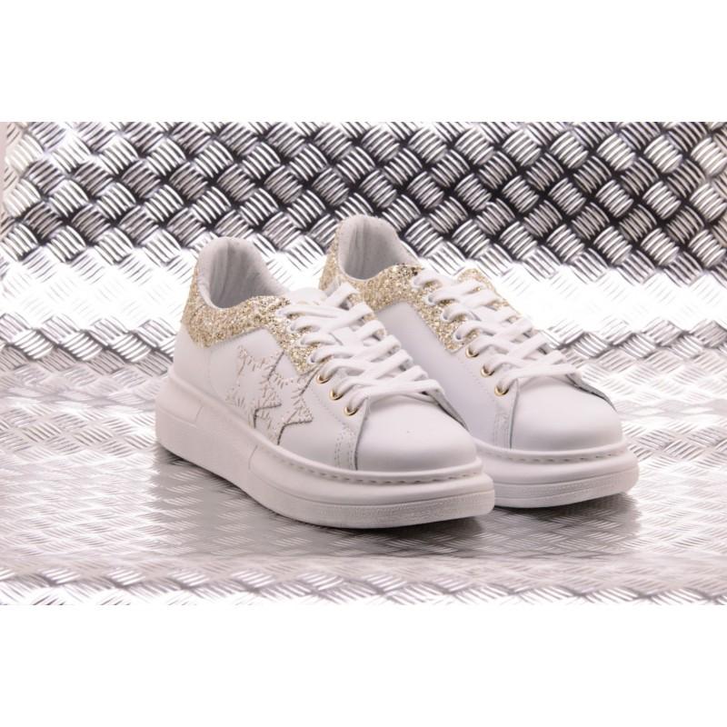 2 STAR - Sneakers Low con Dettagli Glitter  - Bianco/Oro