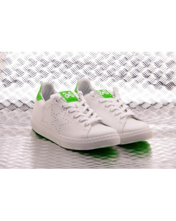 2 STAR - Ecoleather Sneakers with Fluo Green Details  - White/Green