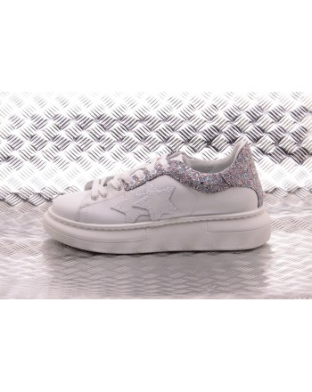 2 STAR - Ecoleather Sneakers with Glitter Deatail - White/Multicolor