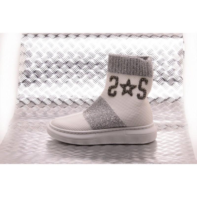 2 STAR - Sneakers Sock con Dettagli Argento - Bianco/Silver