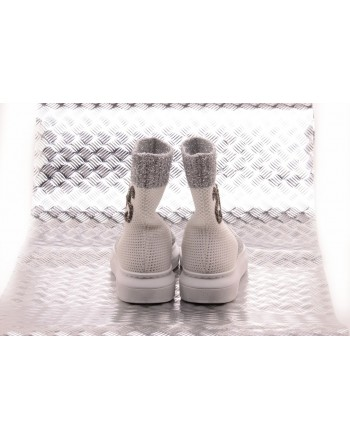 2 STAR - Sneakers Sock with Silver Details - White/Silver