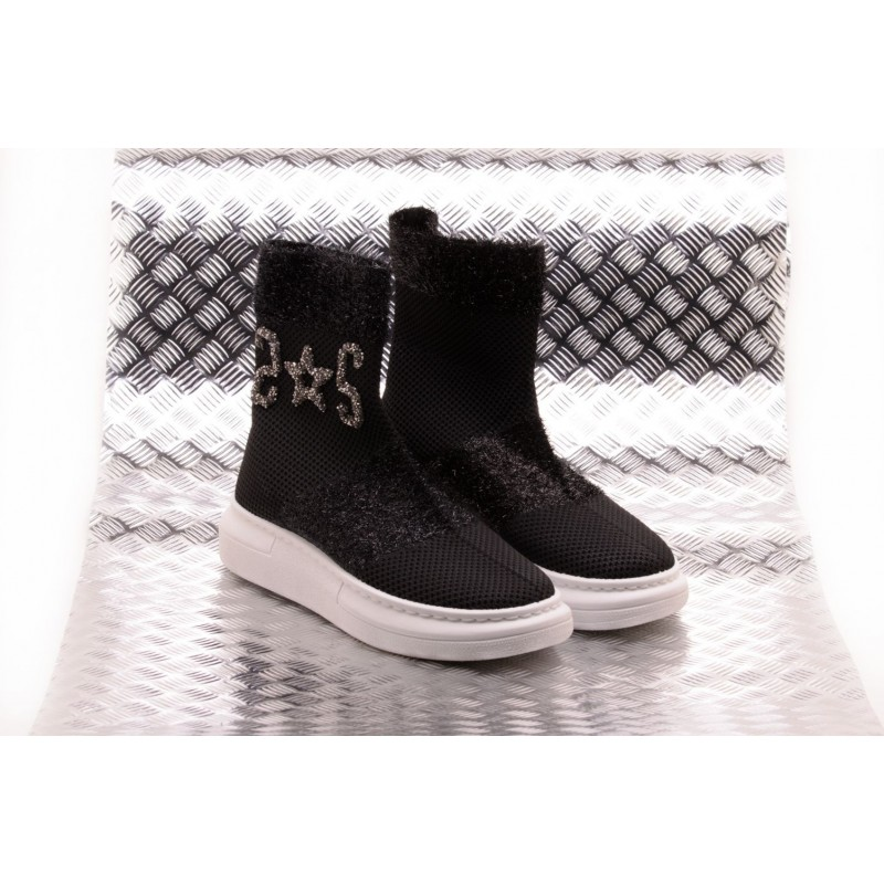 2 STAR - Sneaker Socks with Sequinned Logo  - Nero/Silver