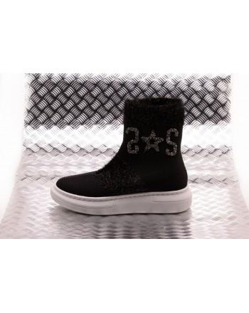2 STAR - Sneaker Socks with Sequinned Logo  - Nero/Silver