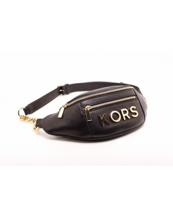 MICHAEL BY MICHAEL KORS -  Leather Fanny Pack with Golden Logo Lettering  - Black