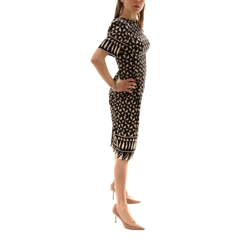 ALBERTA FERRETTI - Cotton Patterned Dress - Black/Ivory