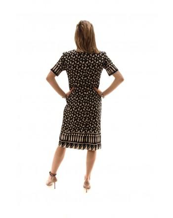 ALBERTA FERRETTI - Cotton Patterned Dress - Black/Ivory