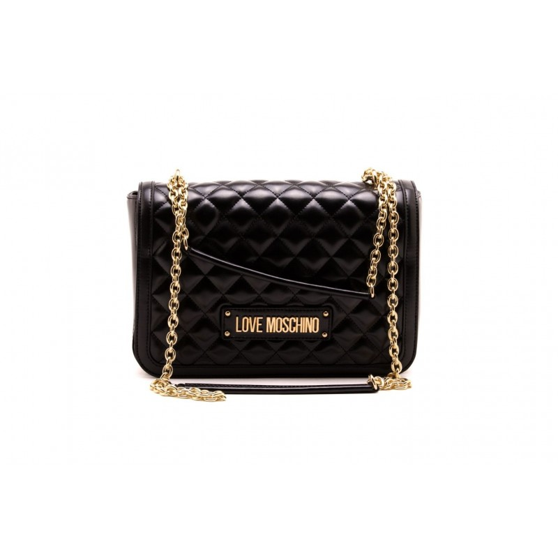 e1828c1dc0 Shoulder strap with golden chain. LOVE MOSCHINO logo in gold metal.  Internal compartments. Measurements: 21 x 28 x 8 cm. Colore:Black