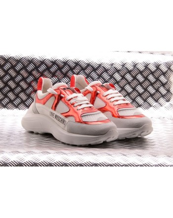 LOVE MOSCHINO - Sneakers in ecopelle LOVE Bianco/Rosso