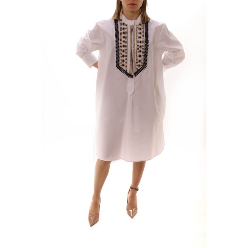 ALBERTA FERRETTI -  Long Shirt with Embroidered Collar - White