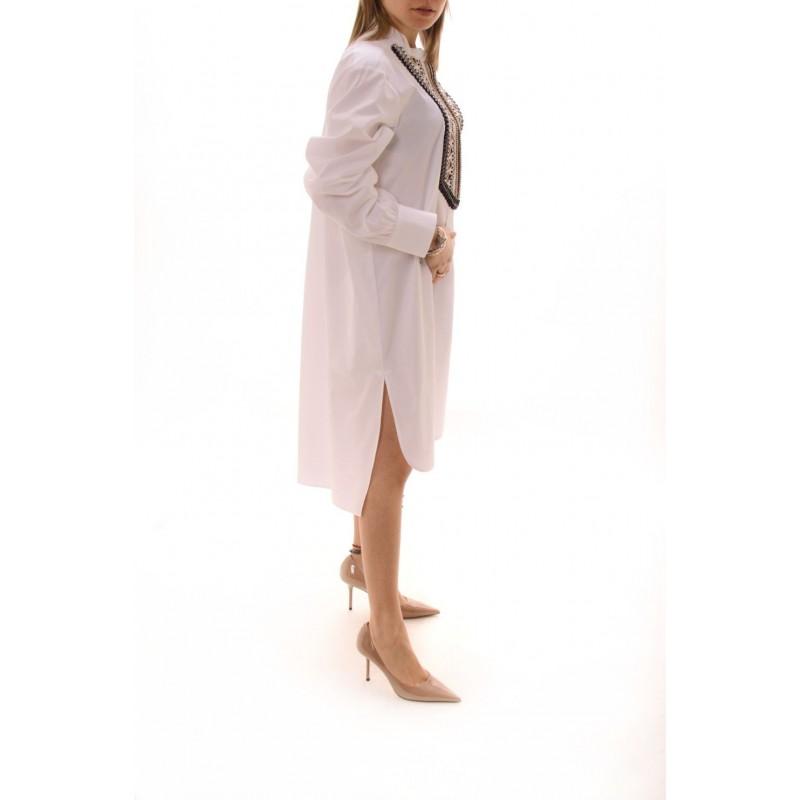 ALBERTA FERRETTI -  Camicia Lunga con Bavero Decorato - Bianco