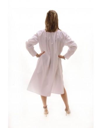 ALBERTA FERRETTI -  Long Shirt with Embroidered Collar - White
