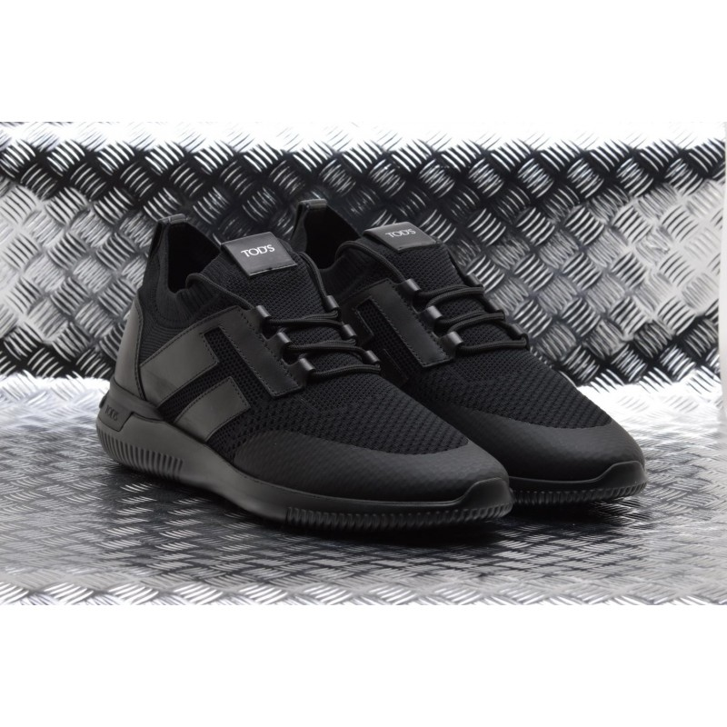 TOD'S -  Leather and Tech Fabric GYM Sneakers - Black