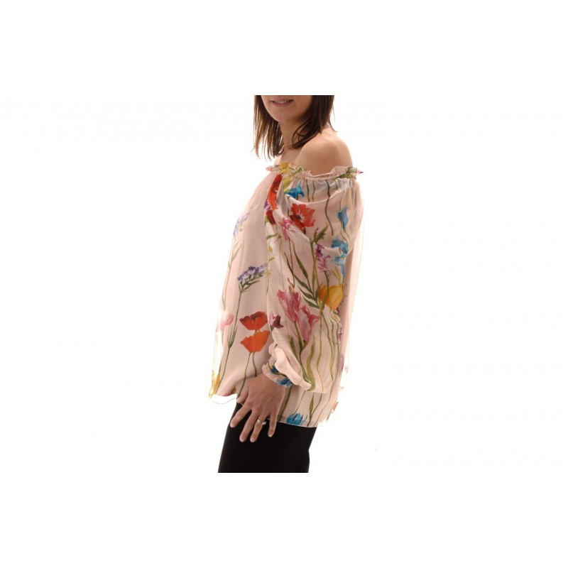 BLUMARINE - Wide Blouse with Floral Print - Multicolor
