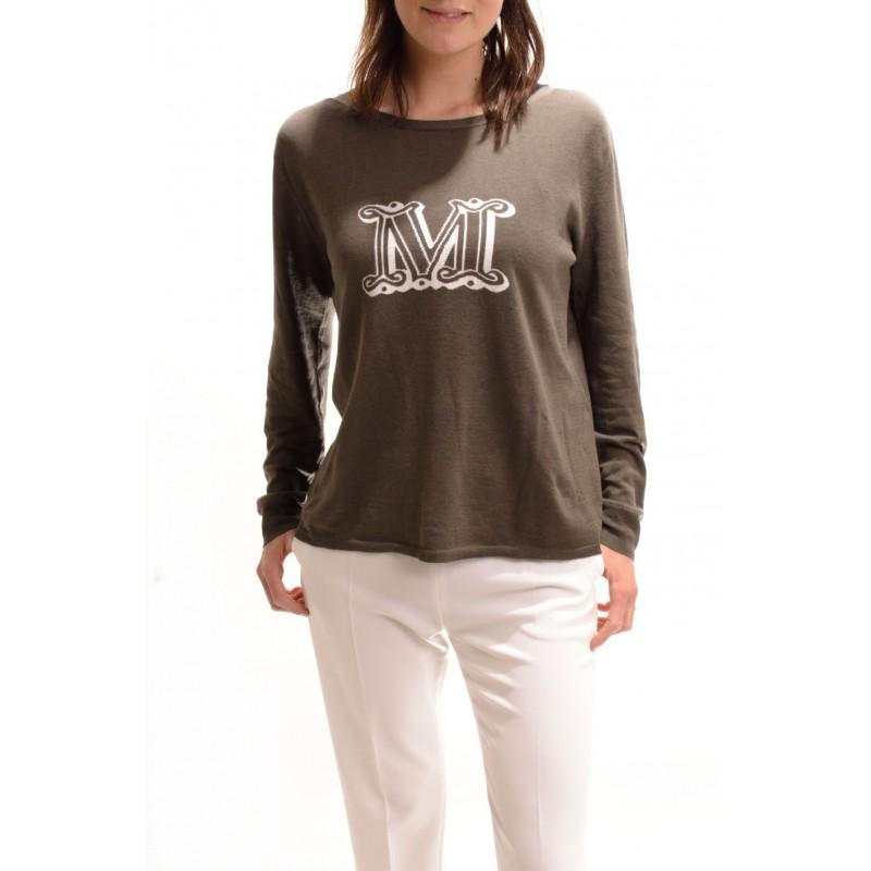 MAX MARA - T-shirt in cotone con stampa - KaKi