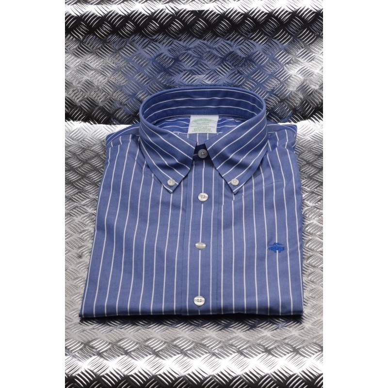 BROOKS BROTHERS - MILANO cotton shirt - Open Blue