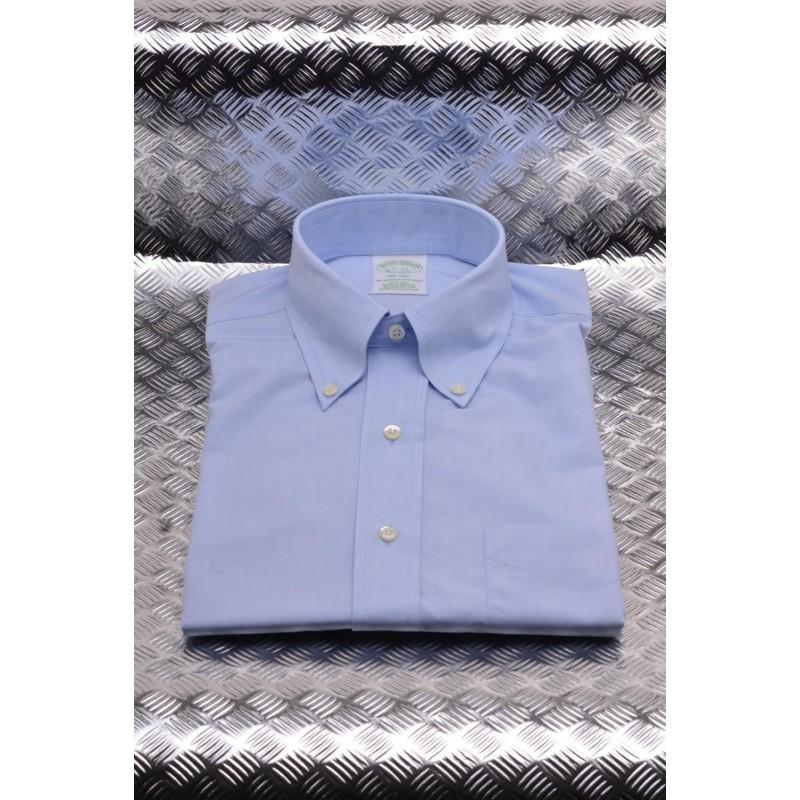 BROOKS BROTHERS -  MILANO cotton shirt - Light Blue
