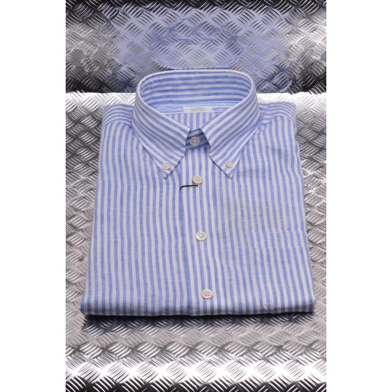 BROOKS BROTHERS - MILANO stretch cotton shirt - Blue