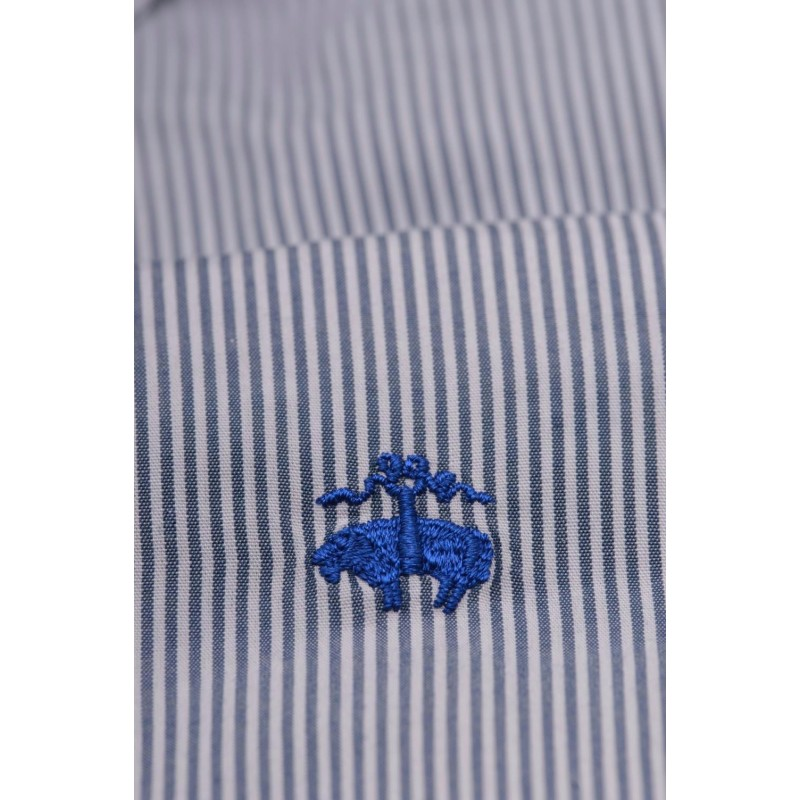 BROOKS BROTHERS -  MILANO stretch cotton shirt - Navy/White