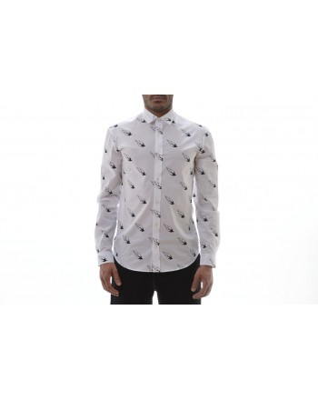 MCQ BY ALEXANDER MCQUEEN -  Camicia in Cotone a Stampa FLAMING - Bianco