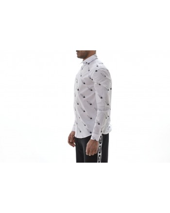 MCQ BY ALEXANDER MCQUEEN -  Cotton Shirt with FLAMING Pattern- White
