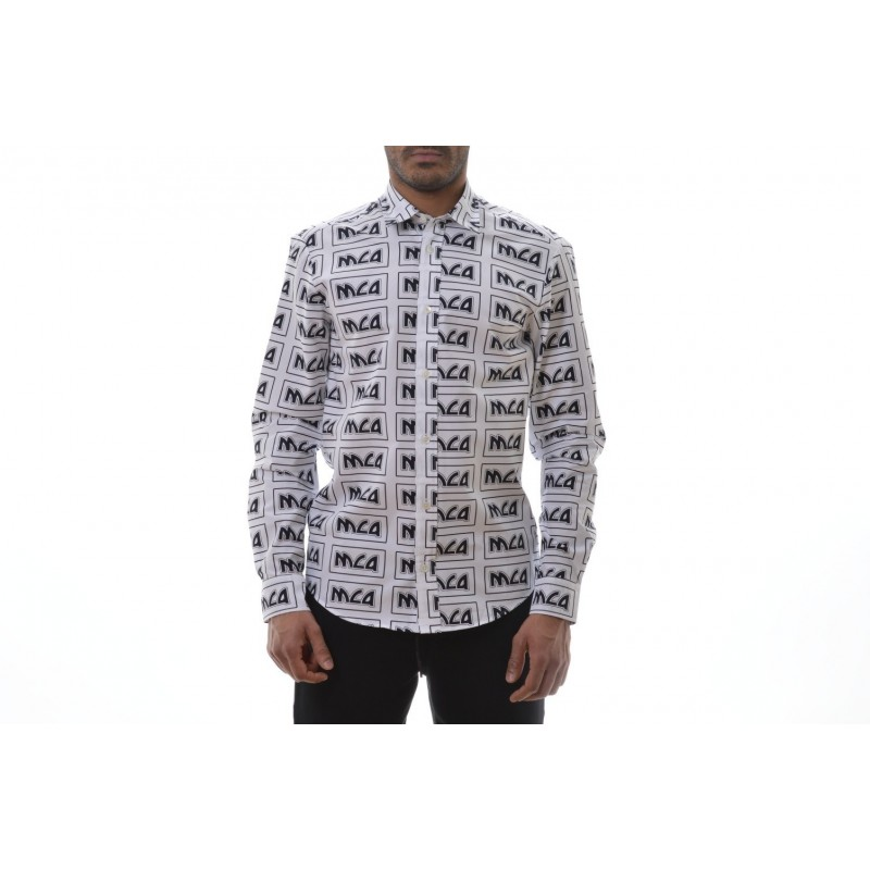 MCQ BY ALEXANDER MCQUEEN -  SHIELDS Cotton Shirt with Logo - White