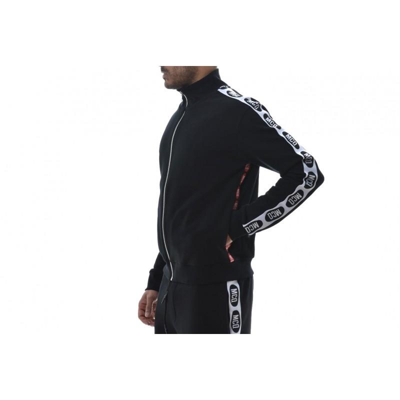 MCQ BY ALEXANDER MCQUEEN -  Matching colour side bands cotton sweatshirt - Black