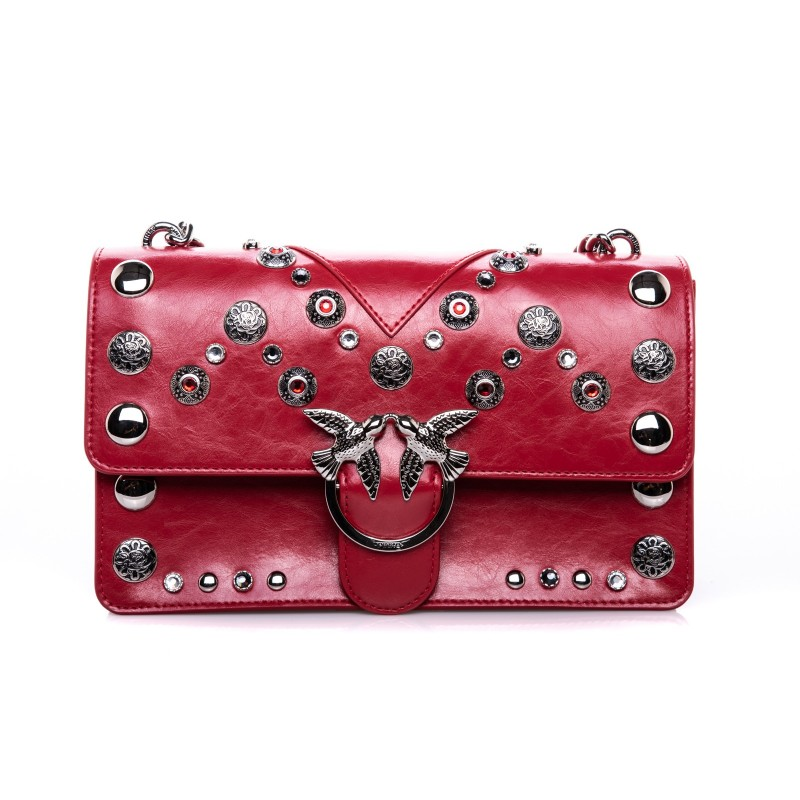 PINKO - LOVE Bag with Studs - Red