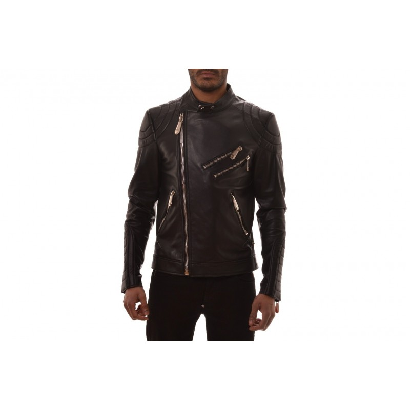 PHILIPP PLEIN -Leather Biker Jacket - Black
