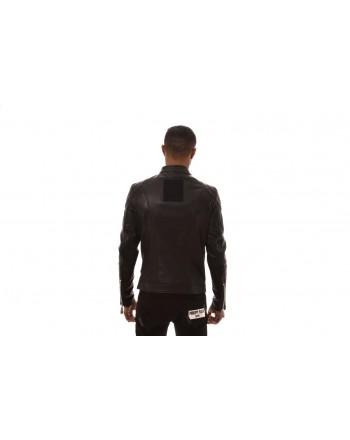 PHILIPP PLEIN -Leather Biker Jacket - Black