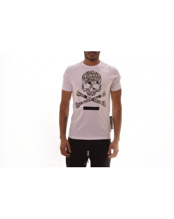 PHILIPP PLEIN - Cotton T-shirt with Logo Skull - White