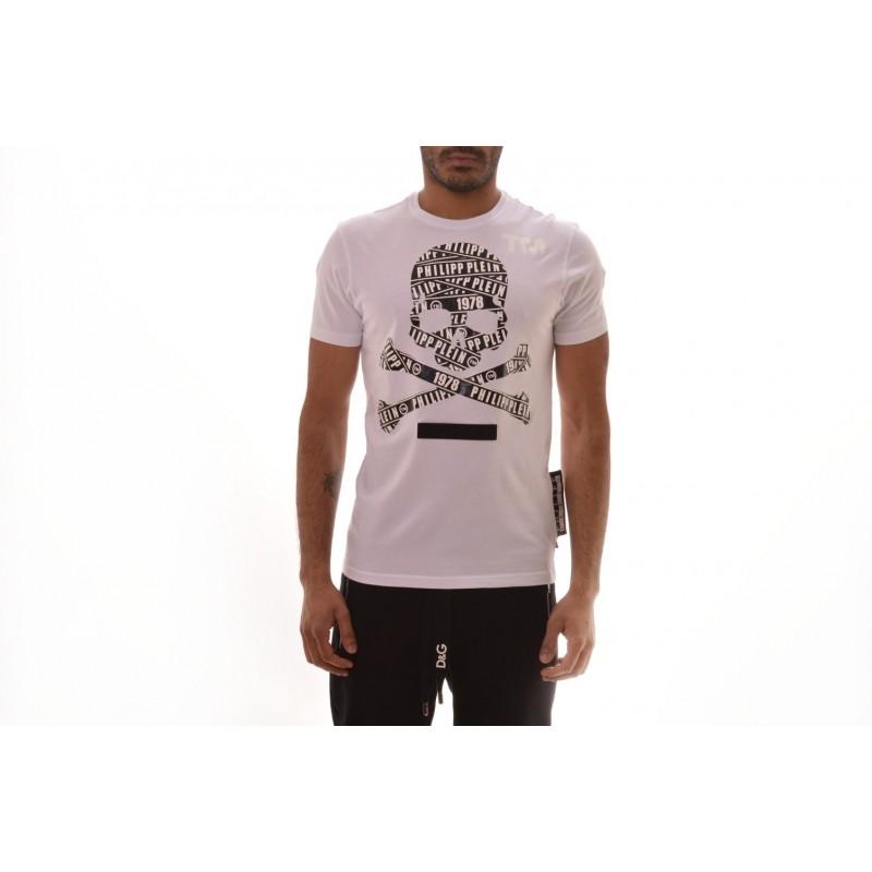 PHILIPP PLEIN - T-shirt in cotone a Stampa Teschio Logo - Bianco