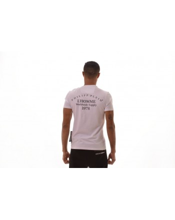 PHILIPP PLEIN - Cotton T-shirt with Logo Skull - White
