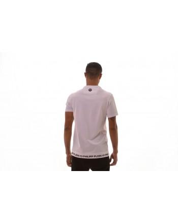 PHILIPP PLEIN - T-Shirt in Cotone a Stampa Teschio Logato - Bianco